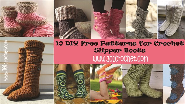10 Diy Free Patterns For Crochet Slipper Boots Knittting Crochet