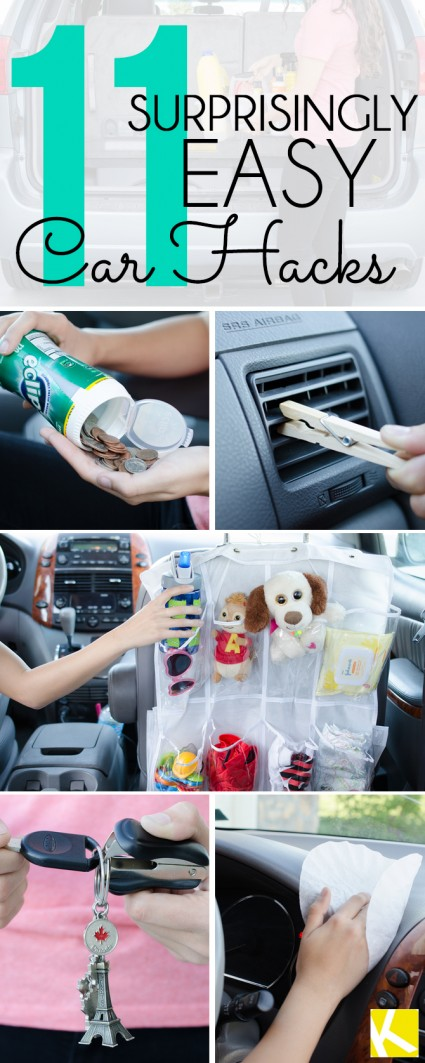 11 amazing hacks to keep your car clean and organized knitting crochet d y craft free. Black Bedroom Furniture Sets. Home Design Ideas