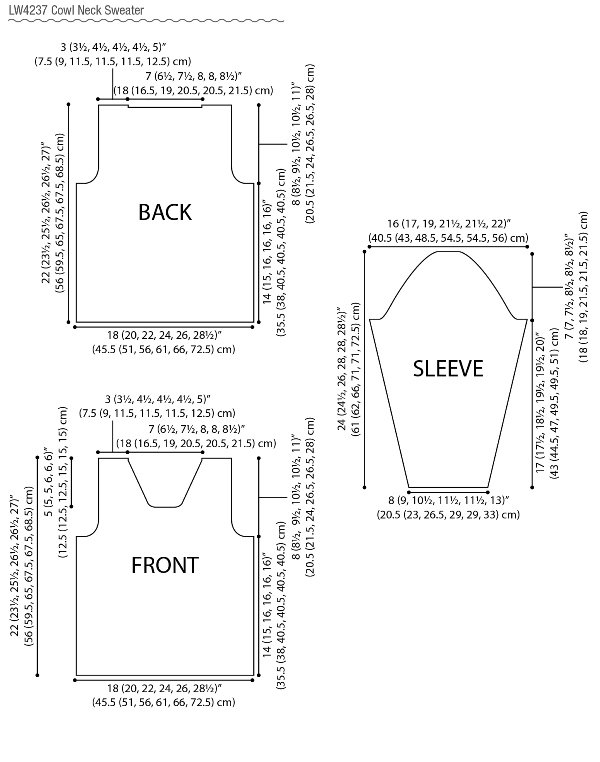 Cowl Neck Sweater-See schematic