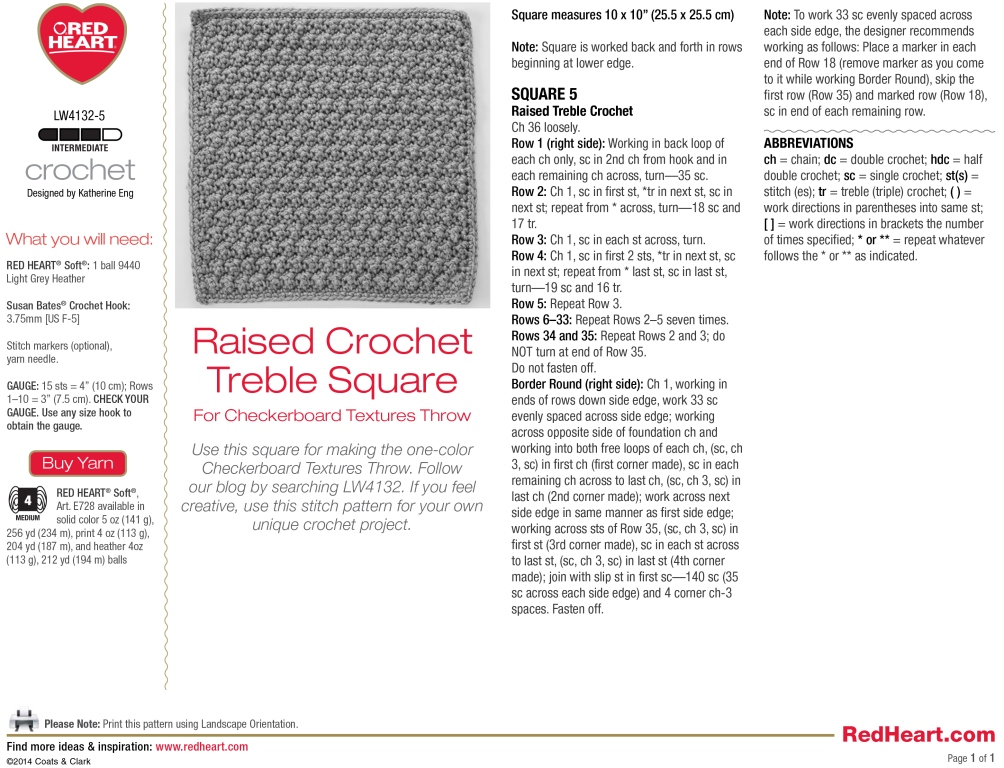 Raised Crochet Treble Square for Checkerboard Textures Throw ...
