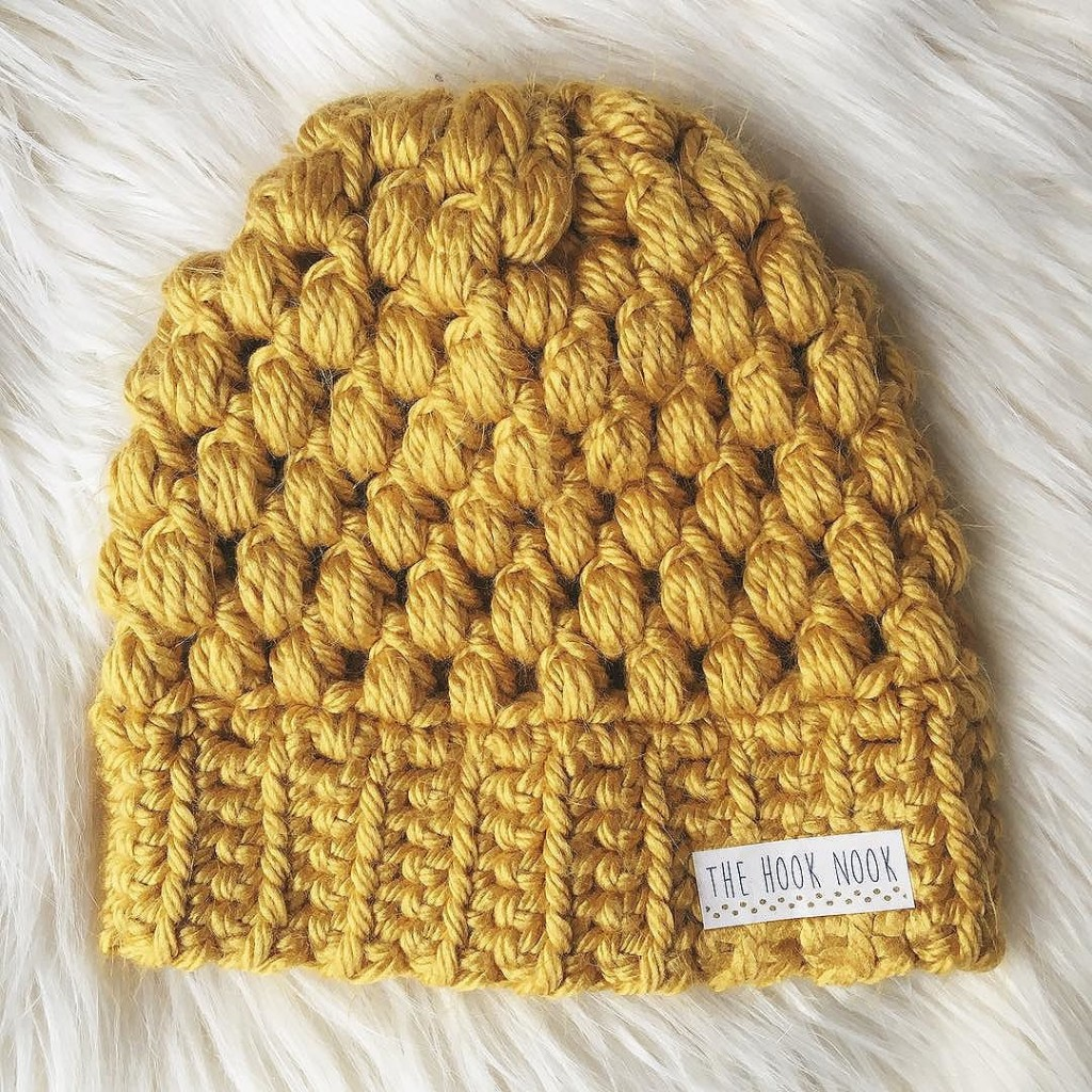 Chunky mustard puff stitch beanie. Obsessed.      Yarn used  Lion Brand  Hometown USA Hook size  N 10mm d2765dca43e