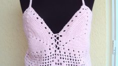 Crochet Pink Top Halter Top Shining Cotton Pink Yarn Spring Summer Wedding Top Gift For Her ! Valentine's Day Gift