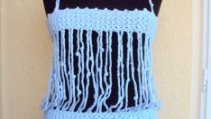 Crochet Tank Top Halter Top Blue Shiny Cotton Yarn Swimwear Beachwear Festival Top Gift For Her Valentine's Day Gift