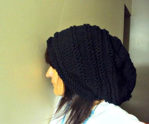 Super Slouchy Beanie Baggy Hat Black Celebrity Hat Unisex