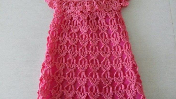Baby dress made crochet motif scheme step by step