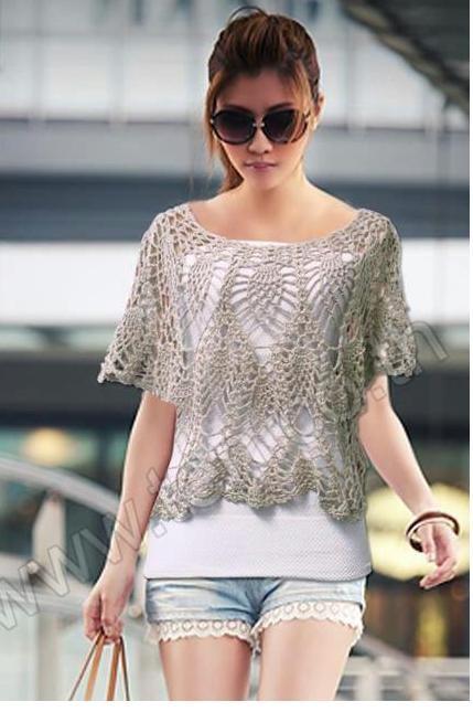 Crochet - Blusa Cinza V