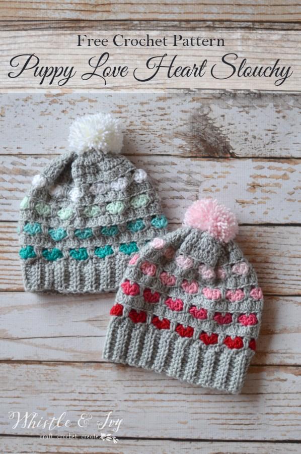 Free Crochet Pattern Puppy Love Heart Slouchy (1)