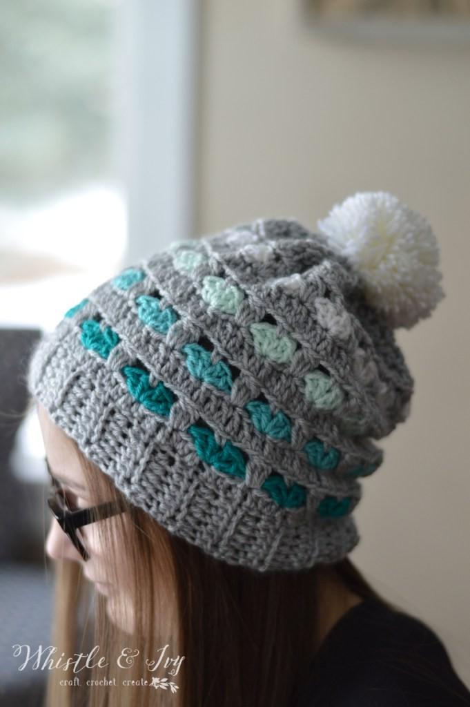 Free Crochet Pattern Puppy Love Heart Slouchy (4)