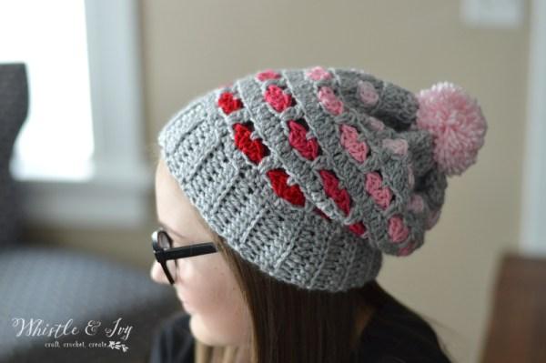 Free Crochet Pattern Puppy Love Heart Slouchy (5)