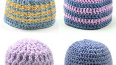 Crochet Pattern: 4 Unisex Baby Hats