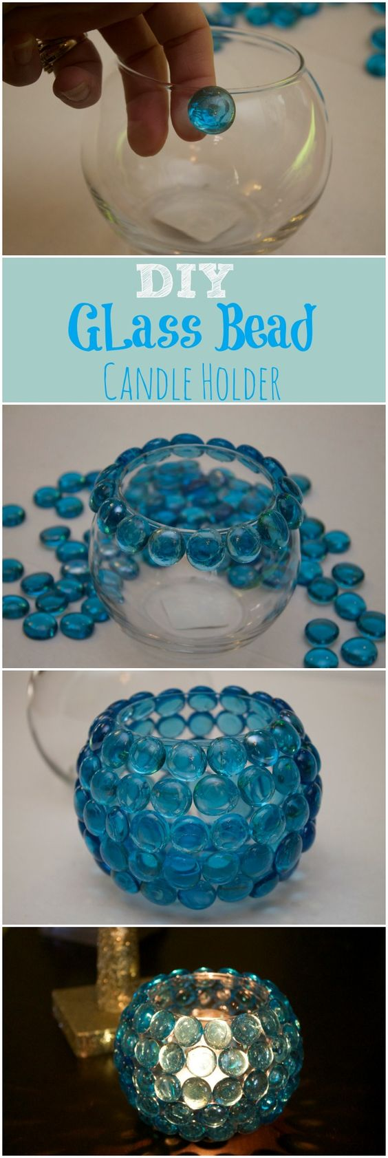 Diy glass bead candle holder is simple easy and an for Easy cheap crafts