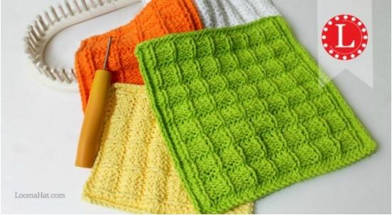 Loom Knit this simple washcloth