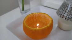 How to make a candle out of the mandarin shell?