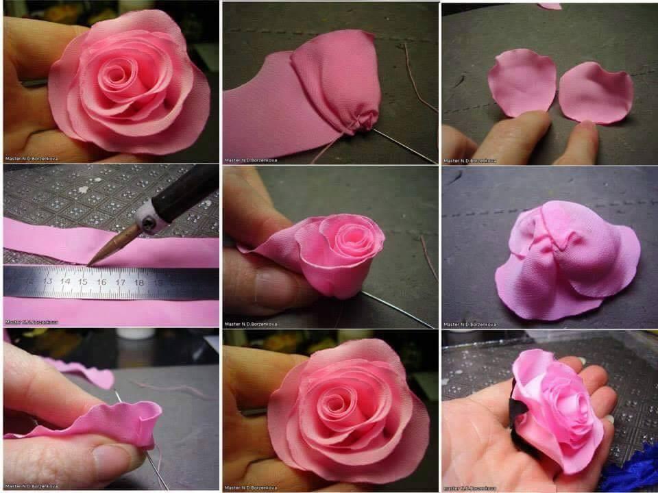 Атласная роза своими руками 36