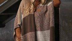 Knitted shawl poncho