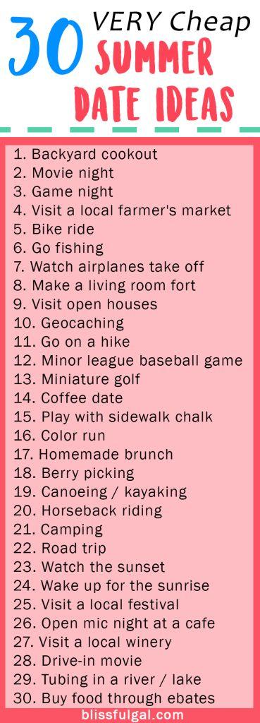 30 Very Cheap Summer Date İdeas