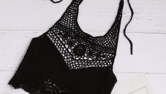 Black Hollow Out Crochet Tie Detail Crop Halter Top