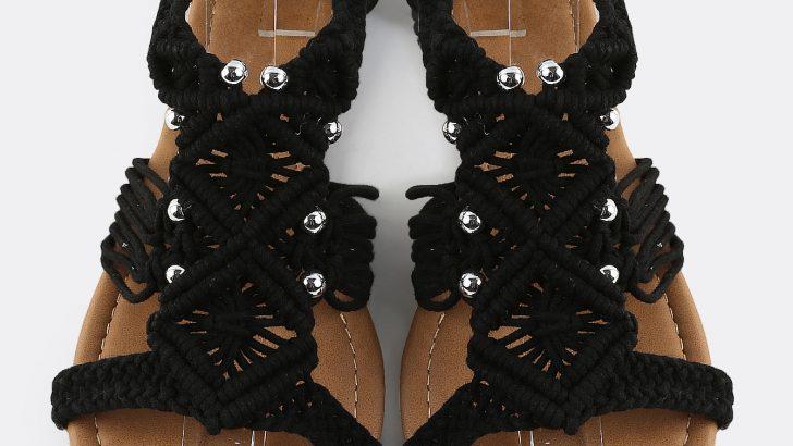 Crochet Flat Sandal BLACK