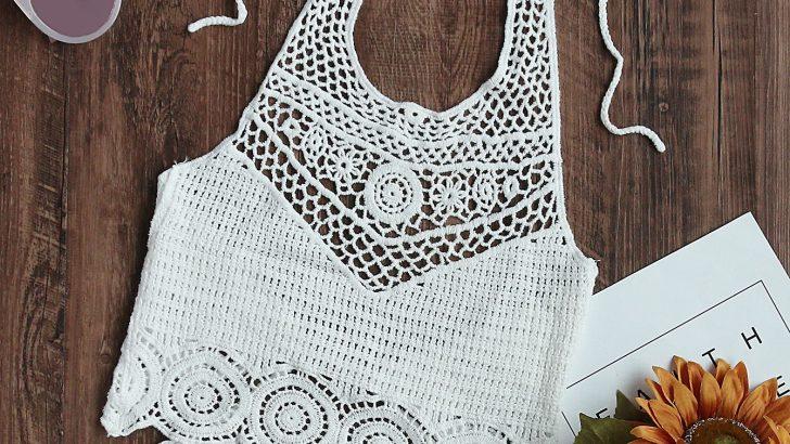 Hollow Out Crochet Tie Detail Crop Halter Top