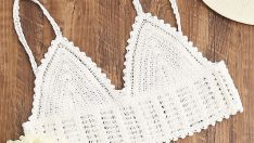 White Crochet Crop Cami Top