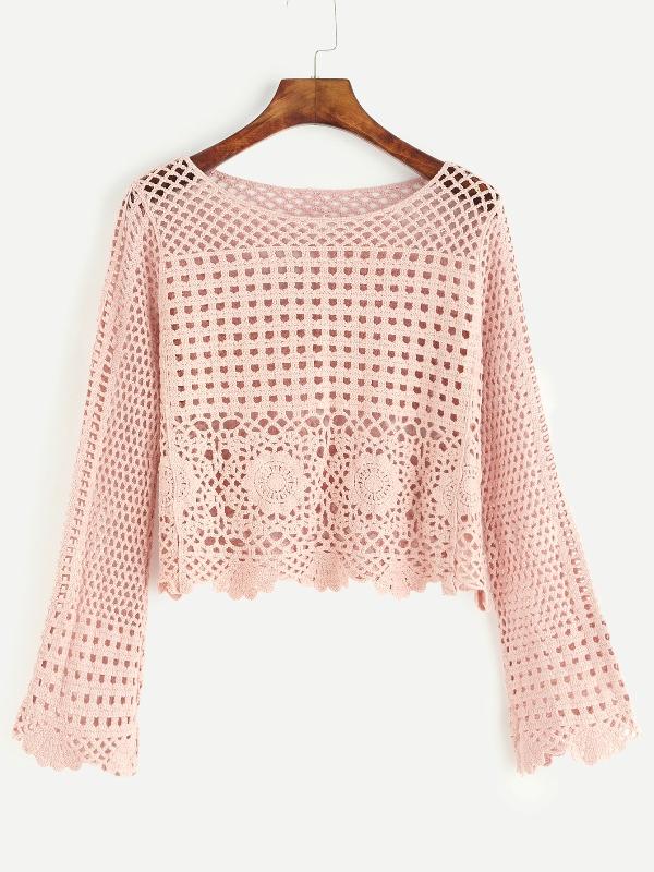 Pink Eyelet Crochet Blouse Knittting Crochet Knittting Crochet