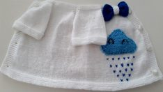Knitted cloud-inspired baby vest free pattern