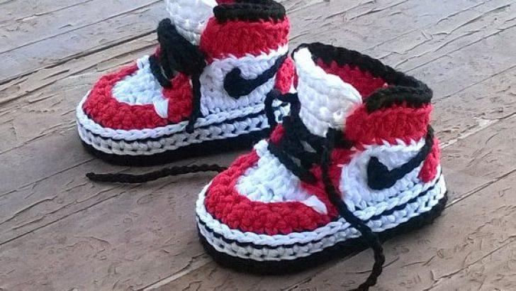 Nike Air jordan a crochet – Baby booties -0 a 3 meses