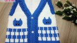 Knitted baby vest model handmade / Cat figured baby vest